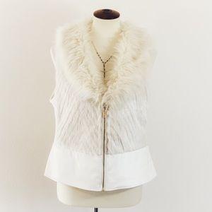 Leather Vest Jacket Faux Fur